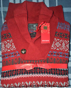 MENS M&S COLLECTION WOOL BLEND FAIR ISLE SHAWL NECK JUMPER SIZE L LARGE  - BNWT