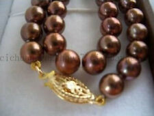 Beautiful 8mm Natural Brown Akoya Real Shell Pearl Beads  Necklace 18''