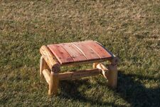 Rustic Outdoor Red Cedar Log Ottoman / Foot Stool- Amish Made in the Usa