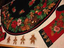 Vtg 80's Christmas Tree Skirt Stockings Fabric Panel Cut & Sew Joan Kessler I14