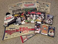 Minnesota Twins 1987/1991 World Series Lot - Newspaper/Magazine/VHS/Pennant/Hat+