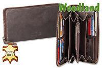 Woodland cuir porte-monnaie pour femme en brun foncé avec tout autour YKK