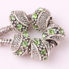 5pcs Tibetan silver green CZ spacer beads fit Charm European Bracelet DIY B#155