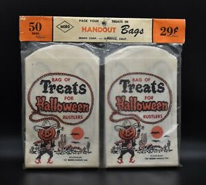 Vtg 1950's Halloween Rustlers NEW Paper Trick or Treat Party Candy Bag Lot of 50