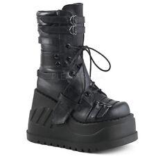 DEMONIA Stomp-26 Black Vegan Hook & Loop Straps Goth Platform Wedge Calf Boots