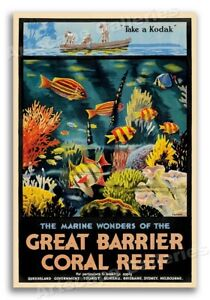 Great Barrier Reef 1930s Vintage Style Australian Travel Poster - 16x24