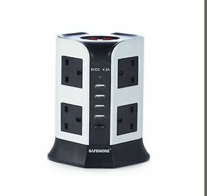 SAFEMORE EURO VERTICAL POWER STACKER 8 OUTLET 4 USB SLOTS
