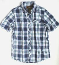 Clearwater Outfitters - Mens M - NWT - Navy Blue Plaid Madras Short Sleeve Shirt