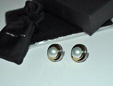 DAVID YURMAN Mabe Pearl Cerise Button Earrings 18K Yellow Gold & Sterling Silver