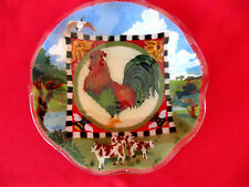 """PEGGY KARR 11"""" Fused Art Glass ROOSTER Farm Cows Checkerboard Ruffle Edge Bowl"""