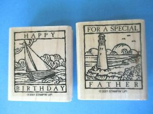 Stampin' Up SPECIAL FATHER Rubber Stamps HAPPY BIRTHDAY Lighthouse Sailboat