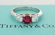 Tiffany & Co 1.32 ct Platinum & 18k Round Ruby & Diamond Engagement Ring GIA