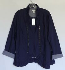 New! Chicos Size 3 Navy Blue Open Front Crinkle Ruffle Jacket Orig $89 NWT