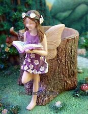 Miniature Tiny Fairy Stump Planter Dress w Flower WS 1593F Fairy Garden