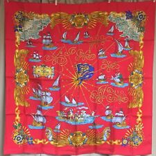 Auth Beautiful HERMES VOILES DE LUMIERE Scarf 100% Silk 88 x 88 cm RED France