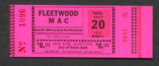 Original Early Fleetwood Mac Unused Full Concert Ticket 1975 Austin Tx Rhiannon