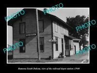OLD LARGE HISTORIC PHOTO OF RAMONA SOUTH DAKOTA, RAILROAD DEPOT STATION c1940