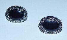 Sparkly Black Oval Cabochon, Black Rhinestone & Dark Silvertone Clip On Earrings