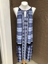 New $119 Sold-out Chico's Blue Combo Tie-Dye Halter Dress Size 3 = XL 16 18 NWT