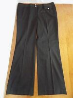 Michael Kors Black Career Dress Pin Striped Women's Pants Sz 16W Plus Wide Leg