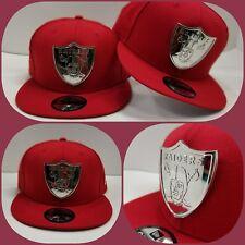 New Era NFL Oakland Raiders Silver Metal Logo 9Fifty Snapback Hat Red