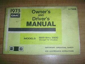 1975 GMC 1500 THRU 3500 OWNERS MANUAL