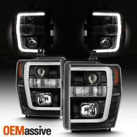 Fits Black 2008-2010 Ford F250/350/450 Super Duty Light Bar Projector Headlights