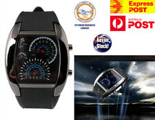 RPM Speedometer Car Speed Gauge Odometer Silver Black Silicone Digital LED Watch