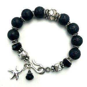 Sterling Silver 925 Black Lava Bead Starfish Charm Bracelet