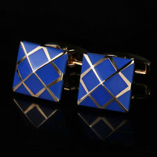 New Gold-plated Blue Cufflinks Gold Men's Shirt Cufflinks French Cuff Buttons