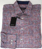 NEW $179 Bugatchi Long Sleeve Shirt Classic Fit Mens Red Navy Blue Geometric NWT