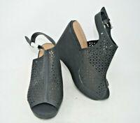 Torrid Women's Black Perforated Platform Slingback Slip On Wedge Heels Size 9W