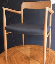 Vintage 1970s Moller 56 model carver chair in teak with black leather seat