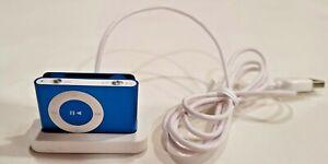 Apple iPod Shuffle & Dock 2nd Gen 1GB Blue A1204 sn6W839NHB437 w/ Delta earplugs