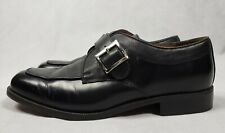 Mens French Shriner Black Leather Buckle Loafer Monk Strap Dress Shoe Size 9M