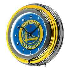 Golden State Warriors NBA Chrome Retro Neon Wall Clock Game Room Art Dubs GS New