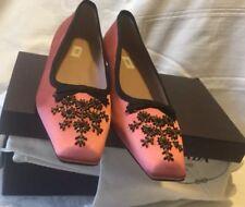 PRADA Rose/Pink Silk Black Patent Leather Bows Beads Sequins BRAND NEW $ 1675.00