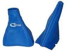 """Engranaje & Freno De Mano Polaina Para Vauxhall Corsa C 2000-06 azul de cuero con el logotipo """"Corsa"""""""