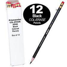Prismacolor COL-ERASE Erasable Colored Pencils 20048, Black, Box of 12