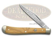 BOKER TREE BRAND Smooth Olive Wood Slimline Trapper Stainless 110093O Knife
