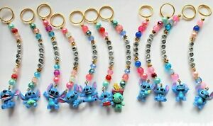Cute Personalised Lilo & Stitch keyring / bag charm (you chose a name) 11 styles