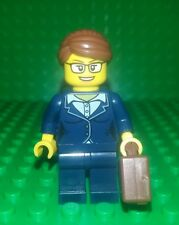 *NEW* Lego Business Woman Minifigure w Brown Hair Briefcase Work Figure Fig x 1