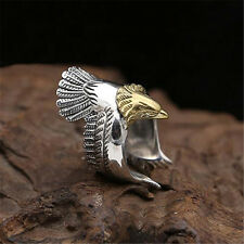 Cool Men's Punk Gothic Biker Vintage Silver 316L Stainless Steel Ring - EAGLE