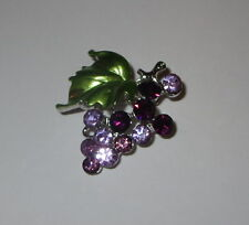 Grape Cluster Pin Grapes Crystals Leaf Jewelry Brooch Fruit New Grapes