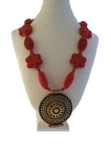 Chinese Cinnabar Necklace - Chinese Pendant Necklace - Cinnabar Bead Necklace