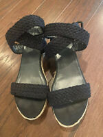 Stuart Weitzman Black Wedge Sandals Size 7.5