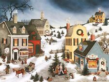 CAROLING IN THE VILLAGE Vintage-Look CHRISTMAS CARDS, Box Set of 18, by LANG