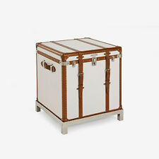 Ralph Lauren Oxford White Leather Modern Metropolis Trunk Chest Chrome Furniture