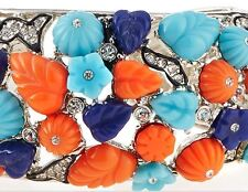 Kenneth Jay LANE KJL Gripoix Poured Glass Bracelet Turquoise Coral Open CUFF NEW