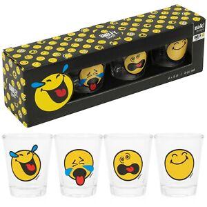 Set Of 4 8 12 50ml Smiley Face Shot Glasses Bar Tumbler Vodka Liquor Party Gift